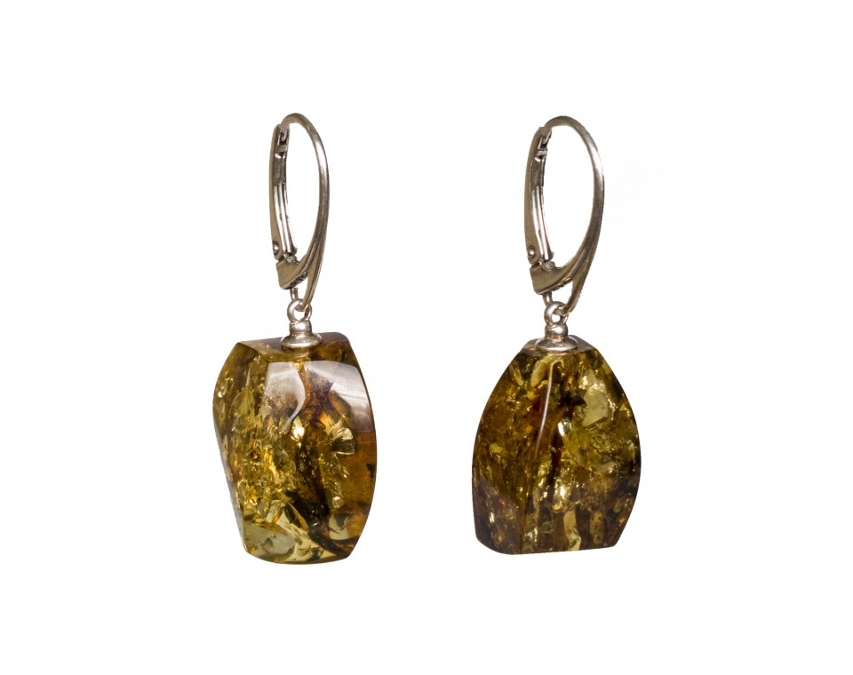 Green color amber earrings fragments #02