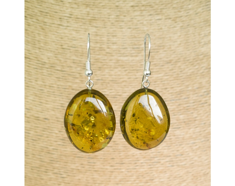 Green color copal bean earrings #03