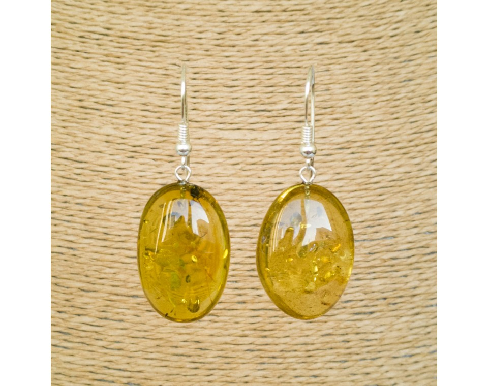 Green color copal bean earrings #04