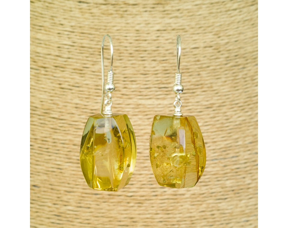 Green color copal earrings fragments #01