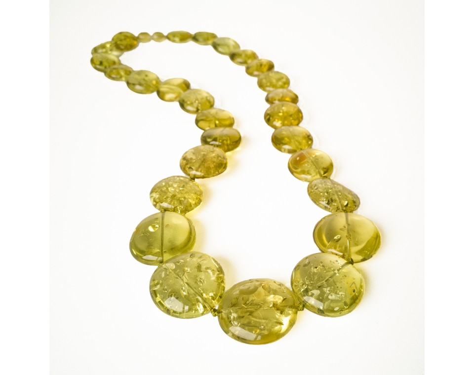 Green copal round beads necklace #02