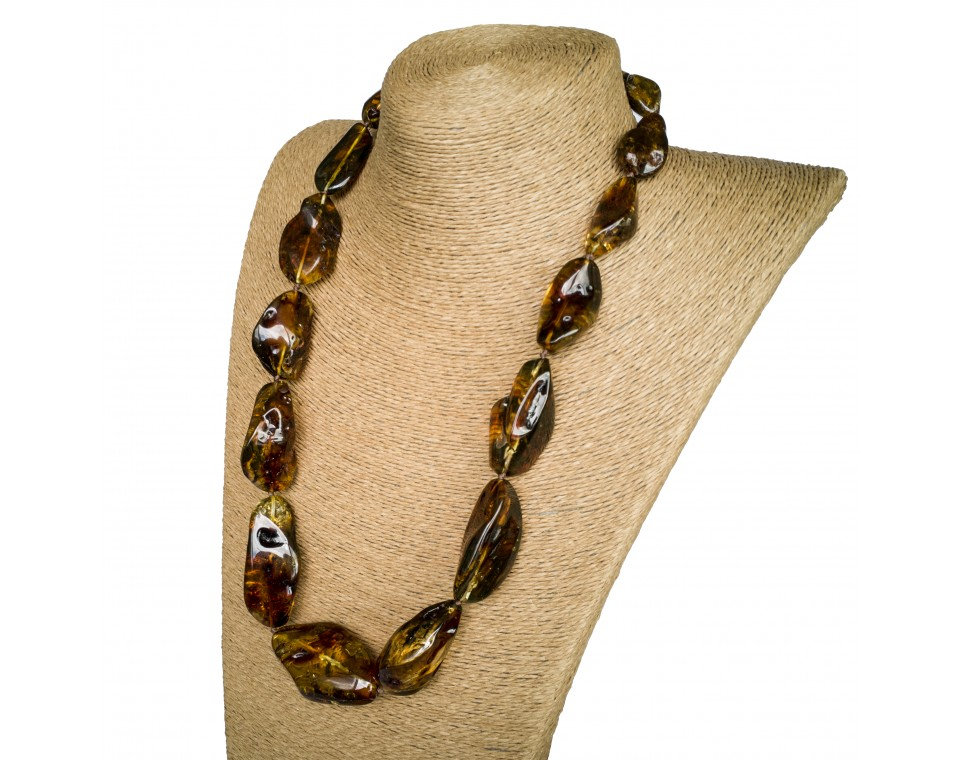 L dark green free form statement necklace