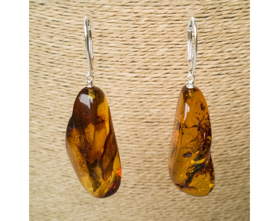 L free form cognac earrings #05