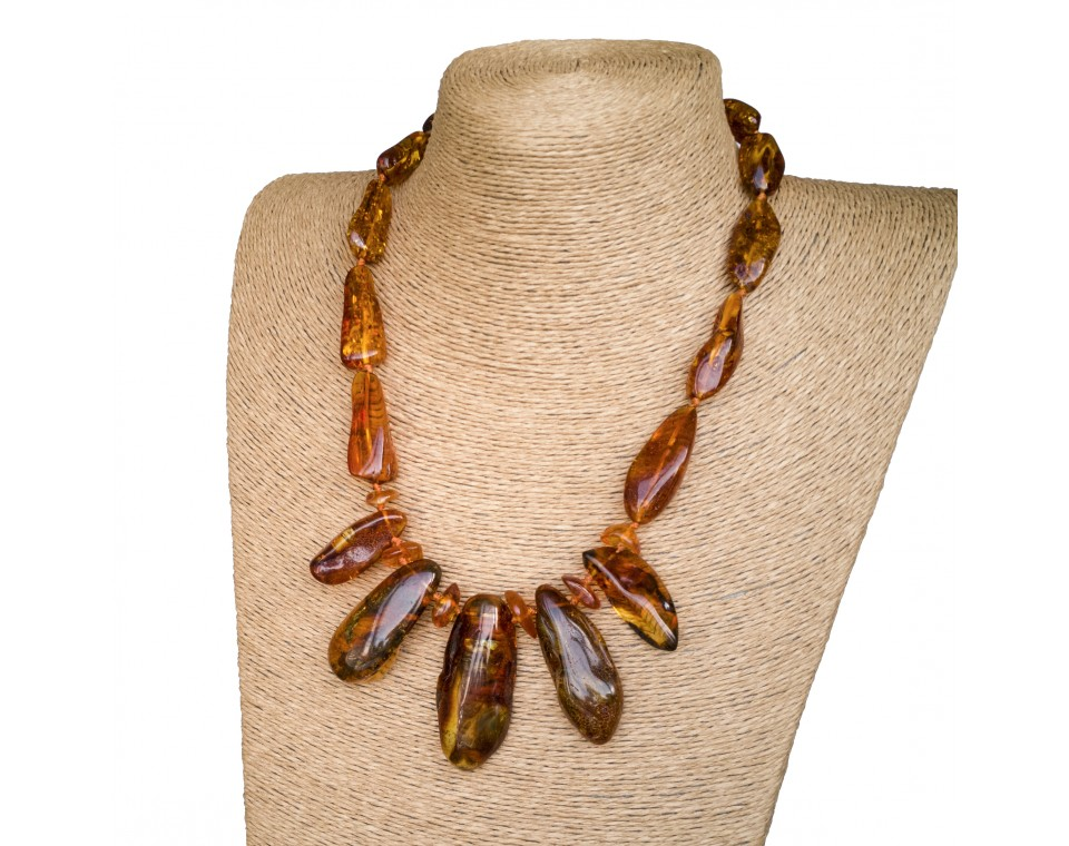 L free form cognac necklace