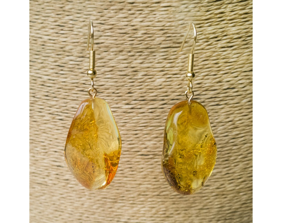 L free form yellow earrings #02