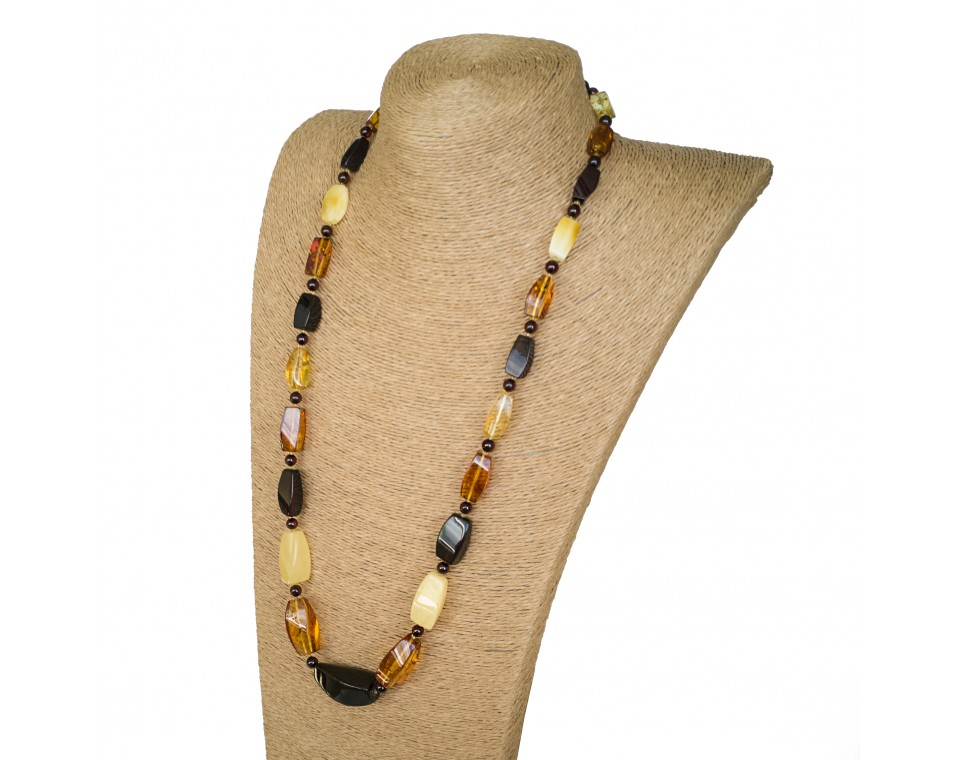 L mix fragments x round beads long necklace