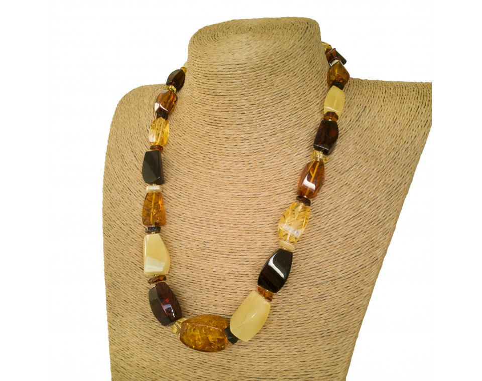 L mix natural amber fragments necklace #01