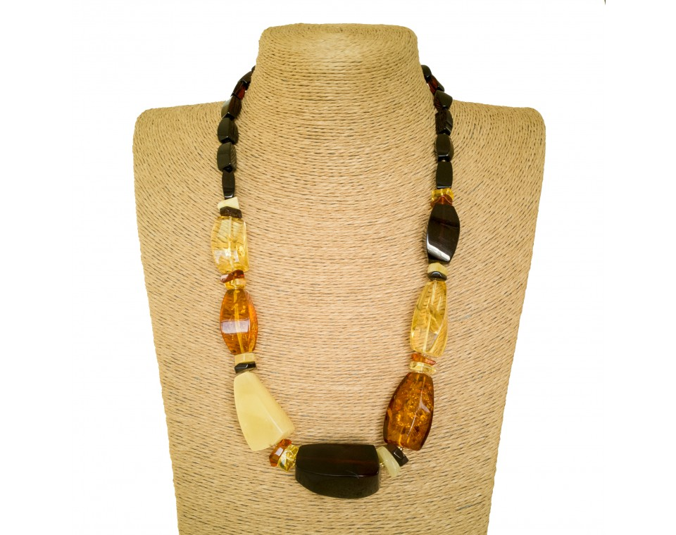L mix natural amber fragments necklace #02
