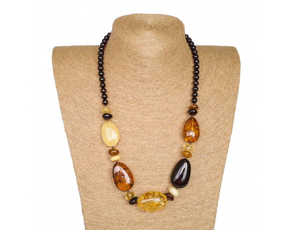 L mix olive x cherry beads necklace