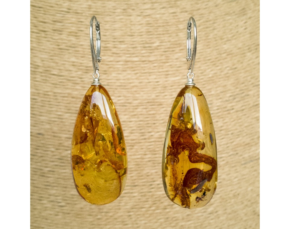 L natural amber cognac drops earrings #01