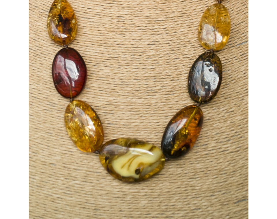 L oval earth long statement necklace
