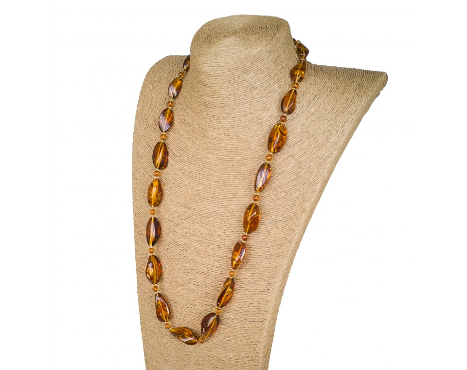 L twisted cognac x round beads long necklace