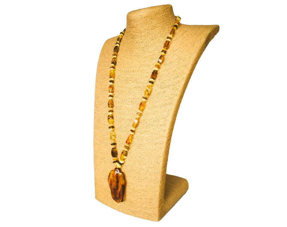Rectangle natural amber green beads and leaf pendant necklace
