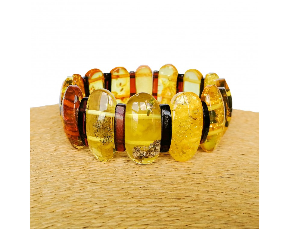 M classy lemon and cherry natural amber bracelet