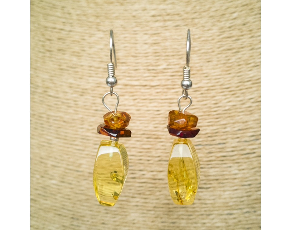 Lemon color amber earrings fragments