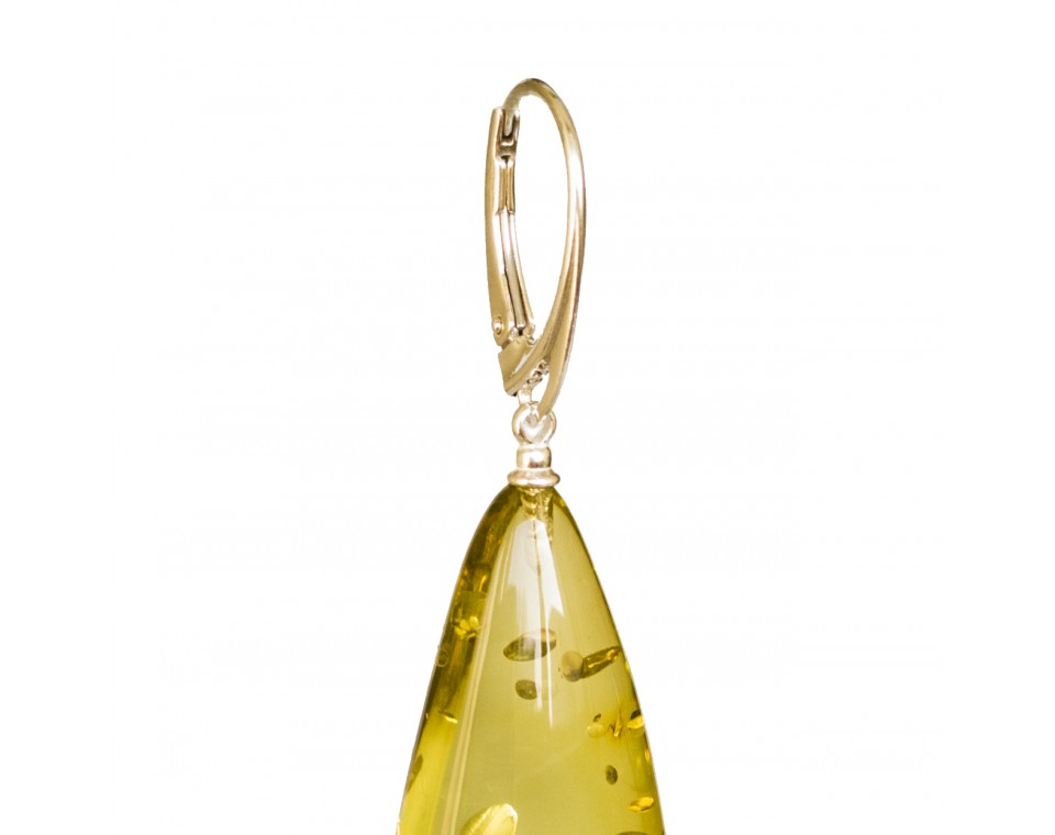 Lemon color copal earrings drops #01