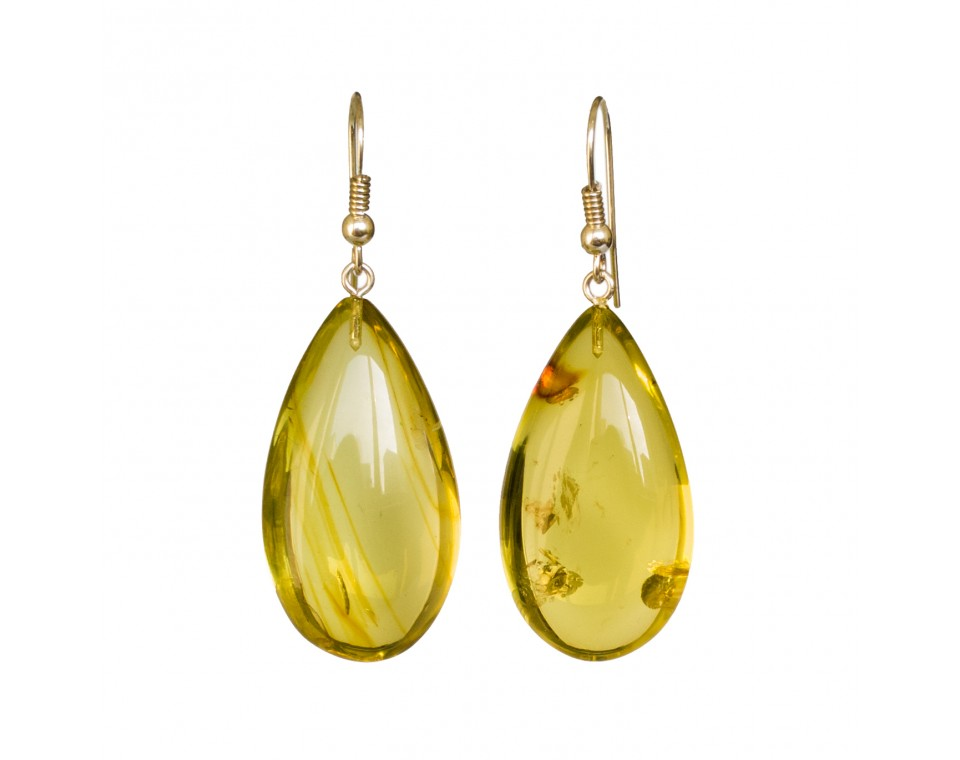Lemon color copal earrings drops #02