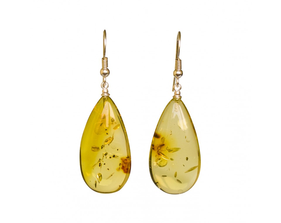 Lemon color copal earrings drops #07