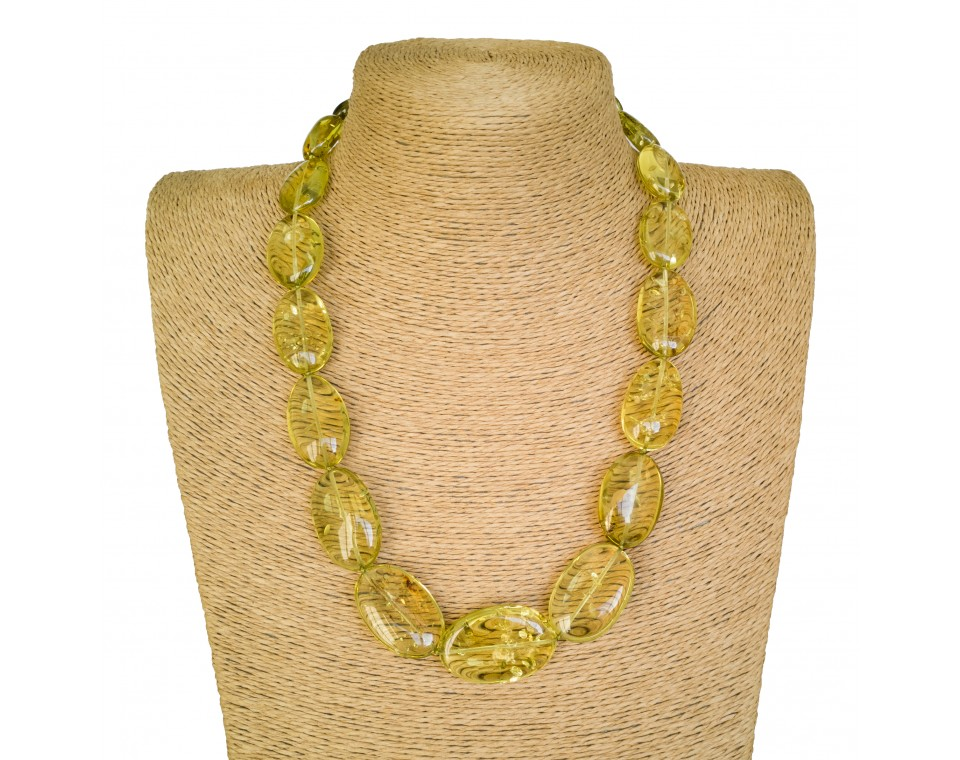Lemon color copal plums necklace