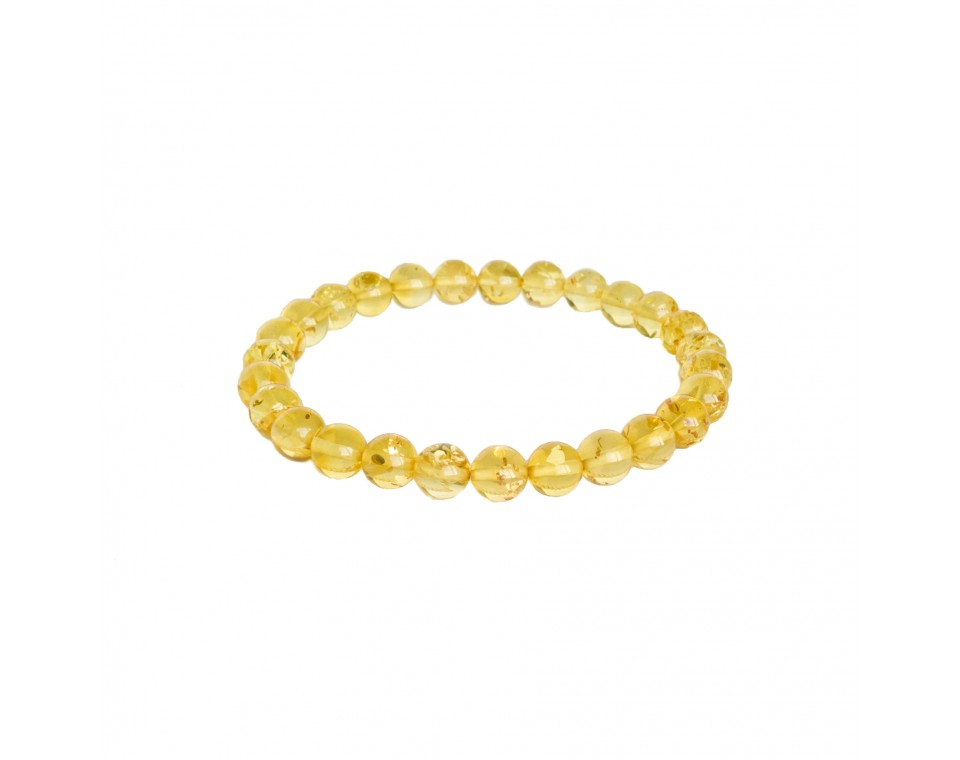 Lemon color natural amber round (7mm) beads bracelet