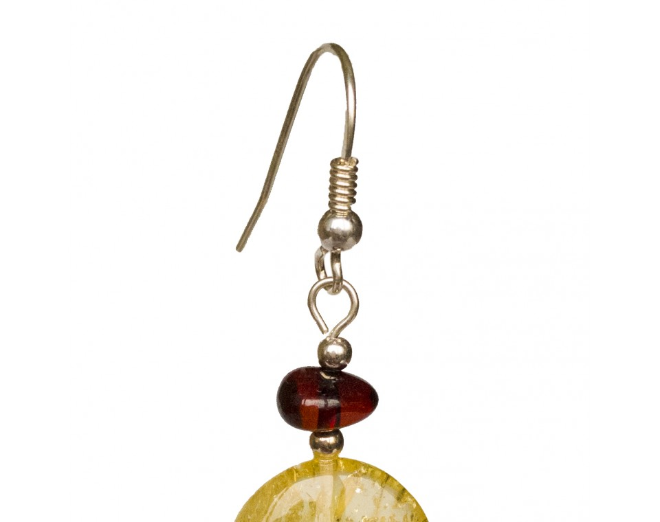 Lemon round earrings #01
