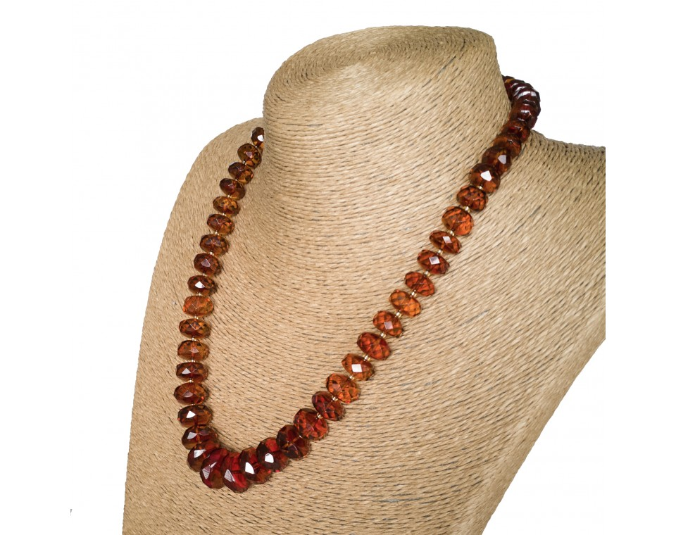 M faceted by hand cognac necklace