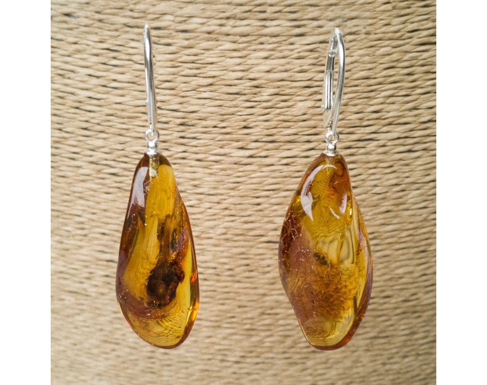M free form cognac earrings #06
