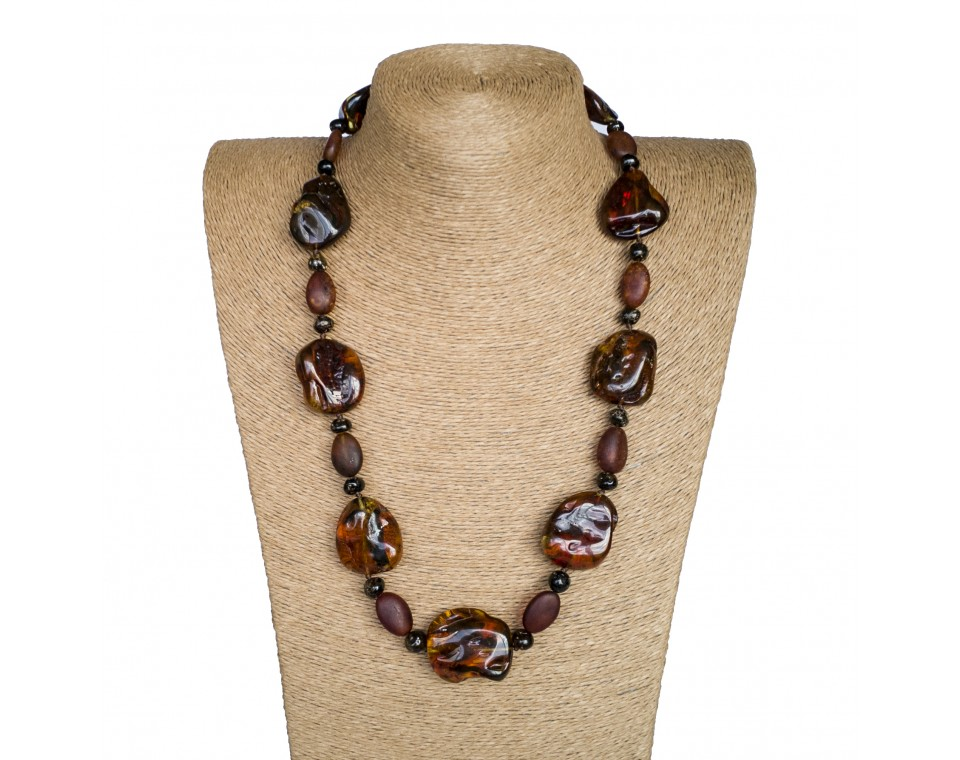 M free form dark cognac x frozen beads necklace
