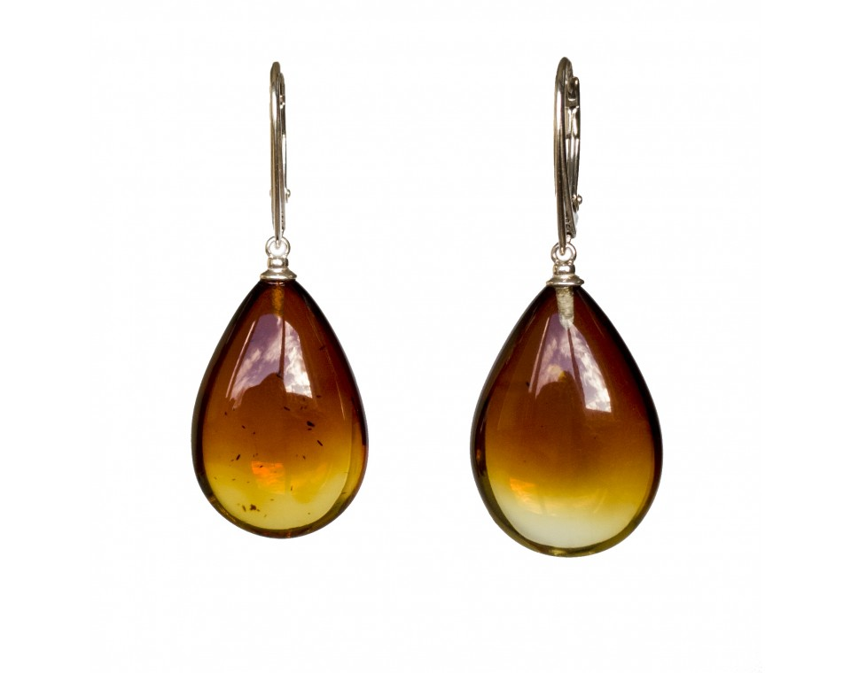 M natural amber cognac drops earrings #03