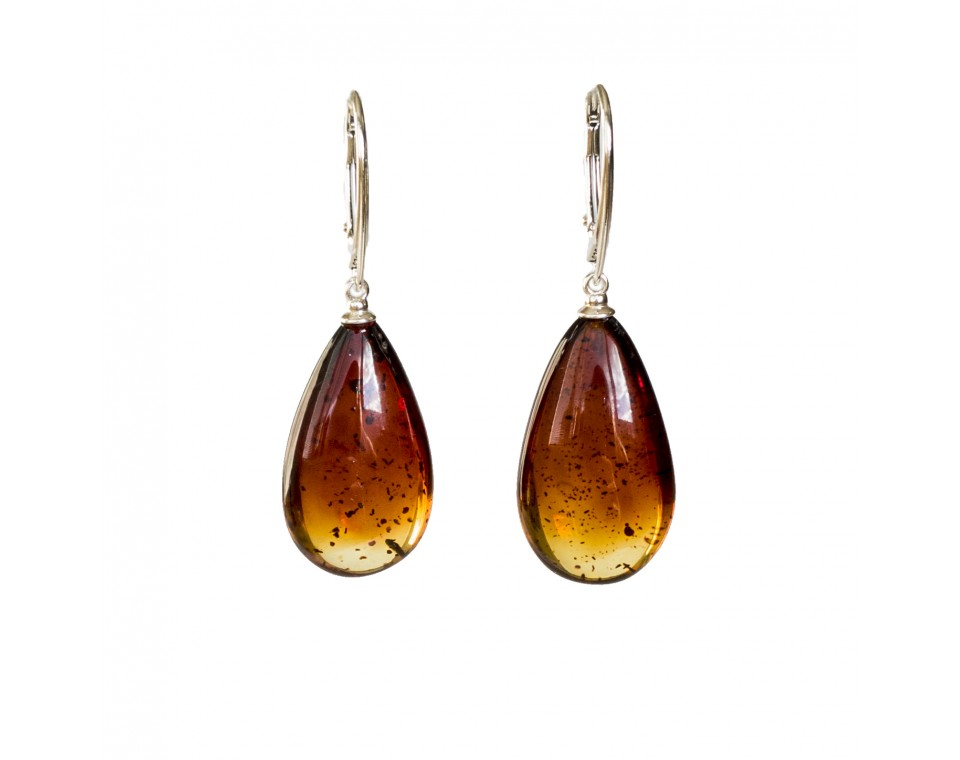M natural amber cognac drops earrings #04