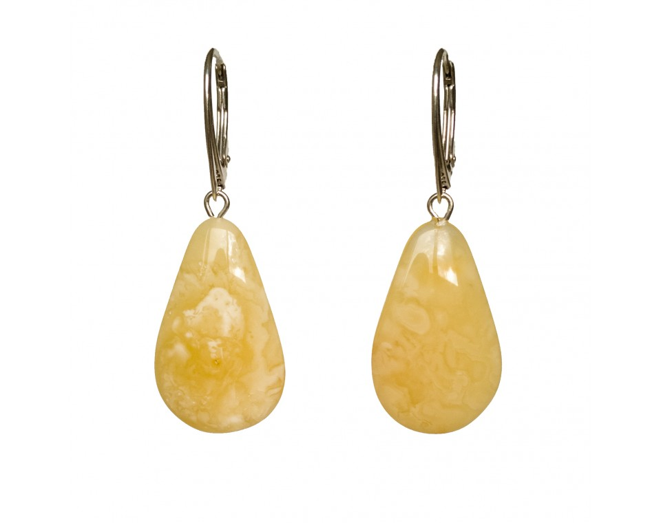 M natural amber matt drops earrings #01