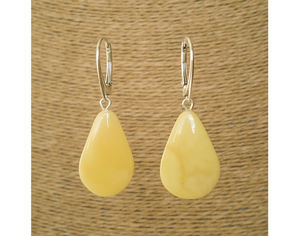 M natural amber matt drops earrings #02