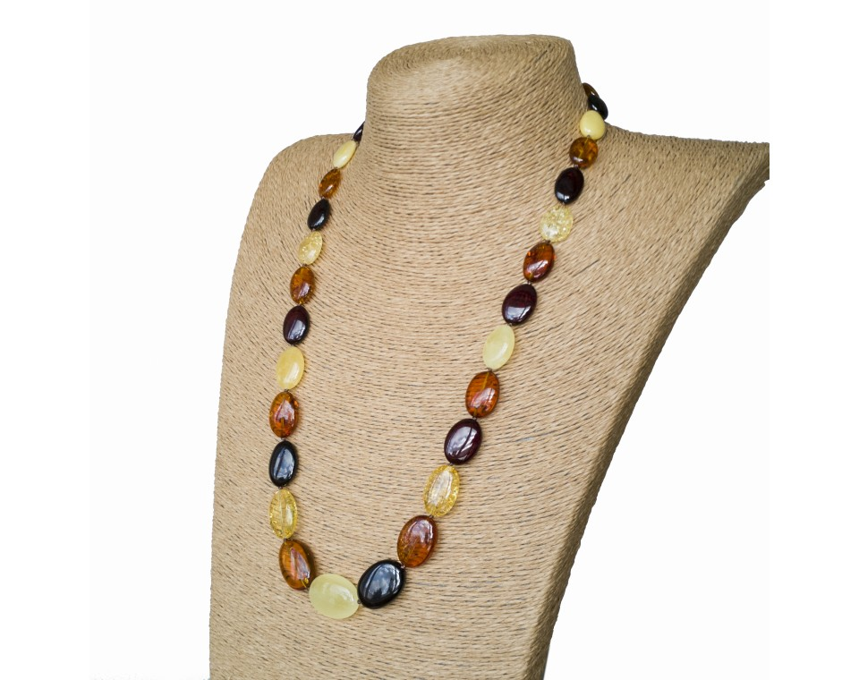 M oval mix long statement necklace