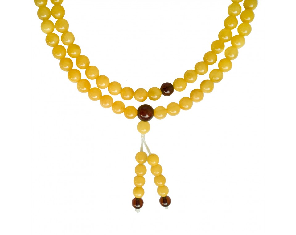 Matt color natural amber buddhist rosary (5.5mm) #01