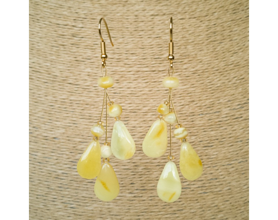 Matt color natural amber ivy earrings #03