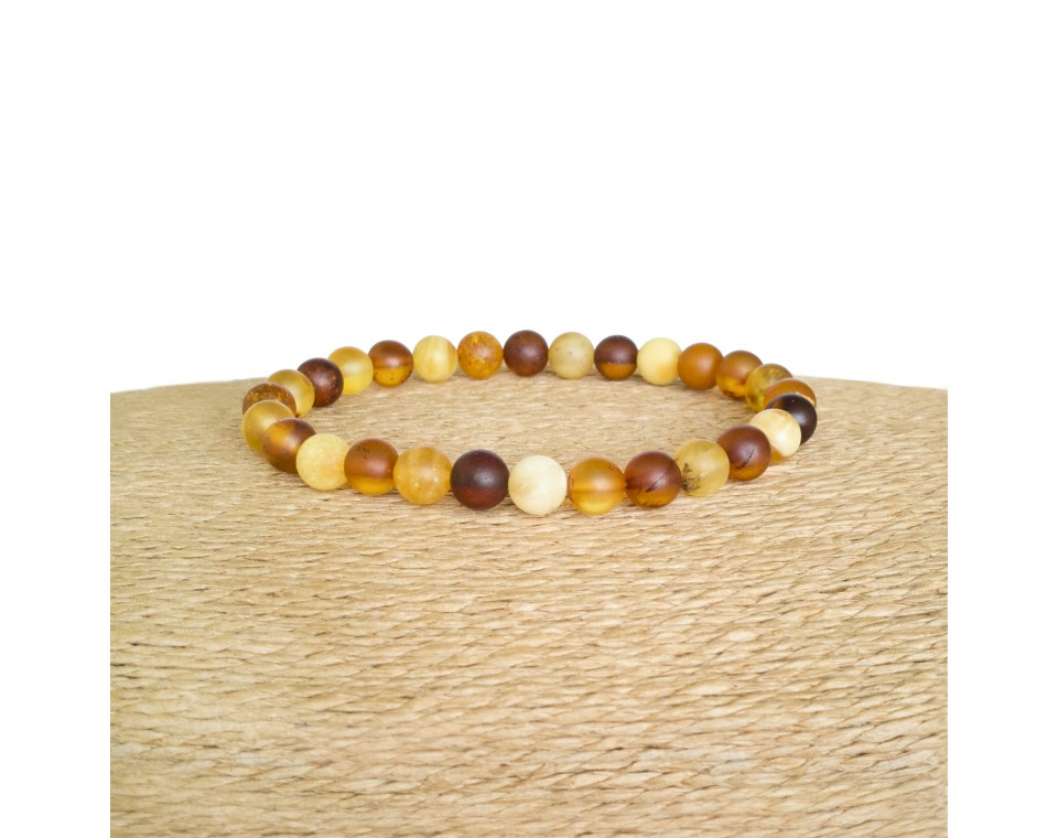 Multicolor natural amber round (7mm) frozen beads bracelet