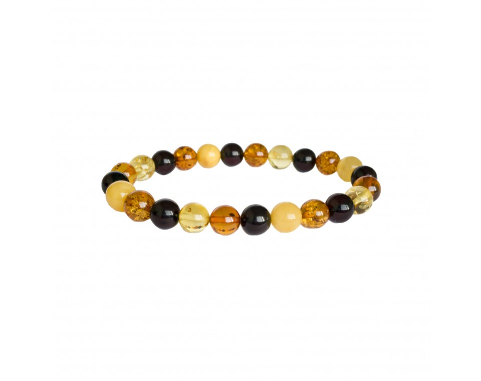 Multicolor natural amber round (8mm) beads bracelet