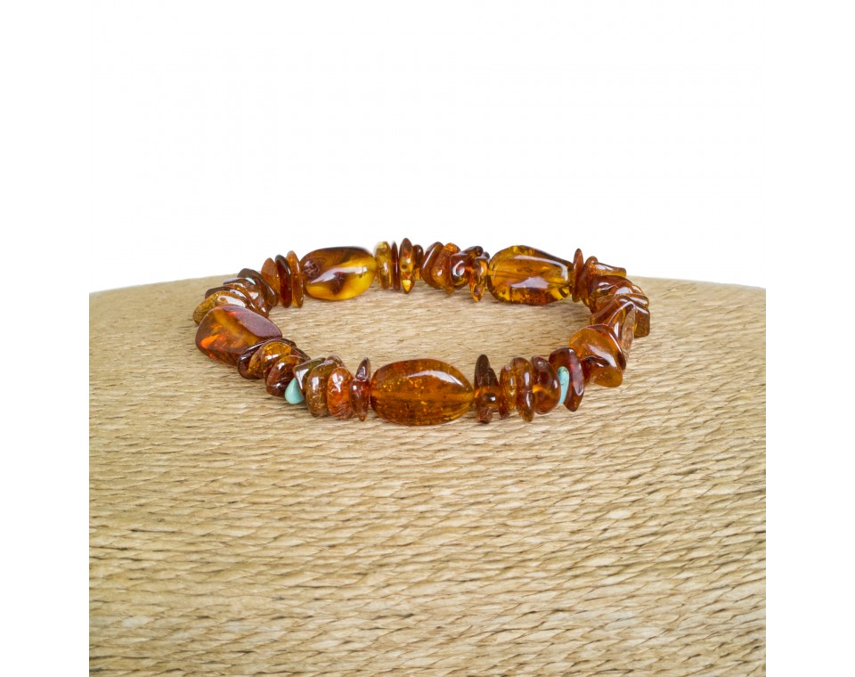 Natural amber and turquoise chips bracelet composition