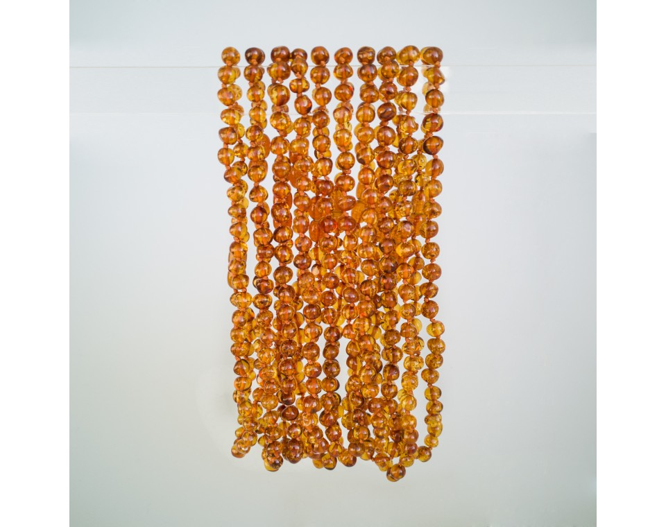Natural amber baroque teething baby necklace in cognac color (10pcs)