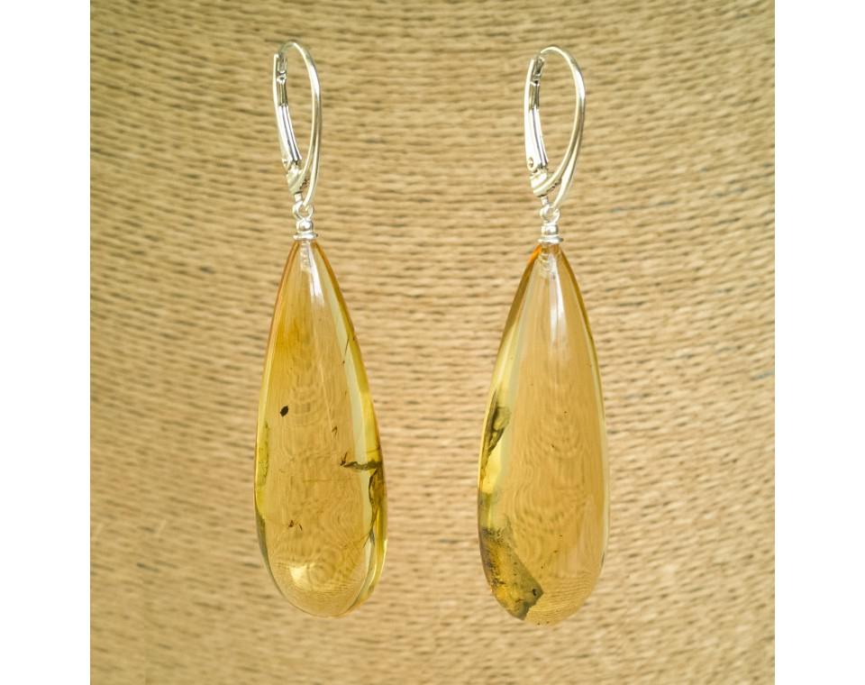 Natural amber earrings with inclussions #05