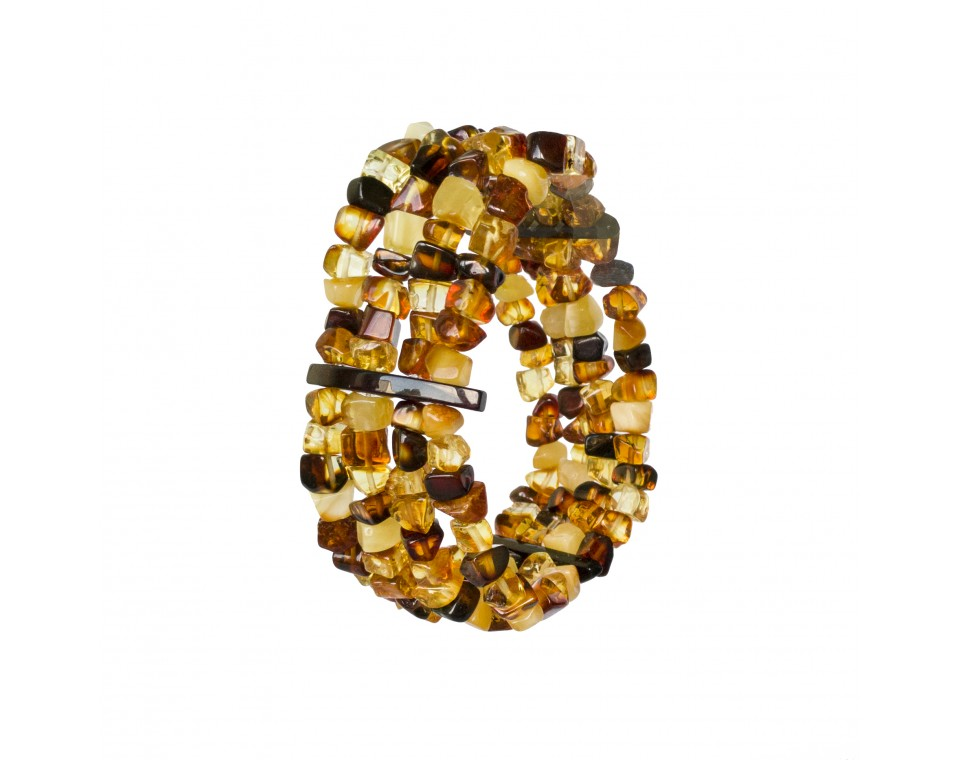 Natural amber faceted cube beads multicolor 4 strings bracelet