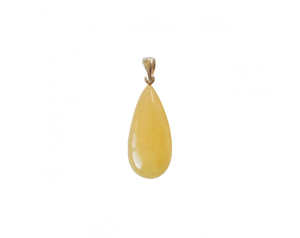 Natural amber matt color drop pendant #01