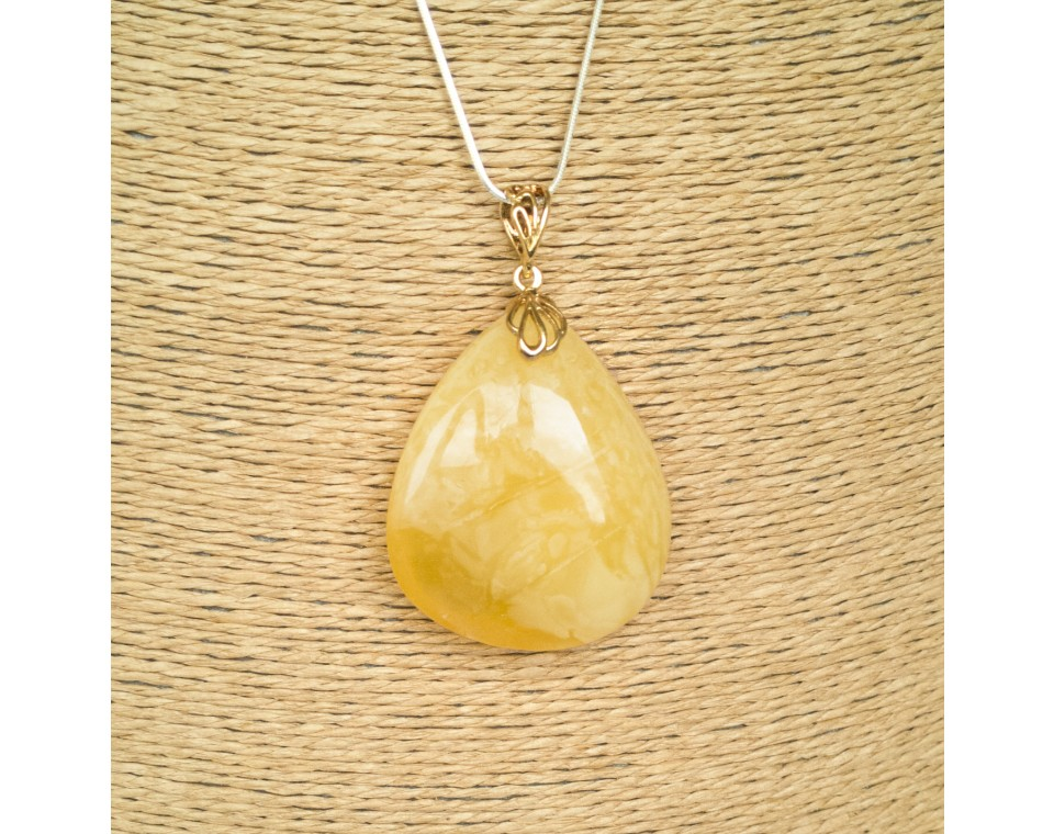 Natural amber matt color drop pendant #05