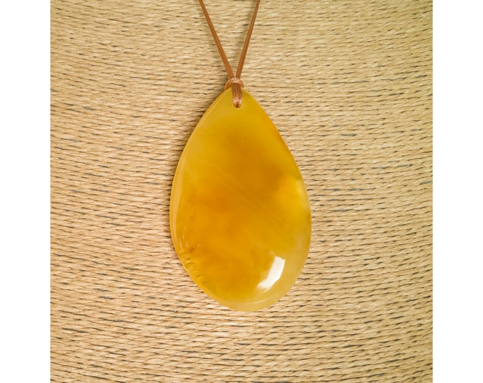 Natural amber matt color drop pendant #08