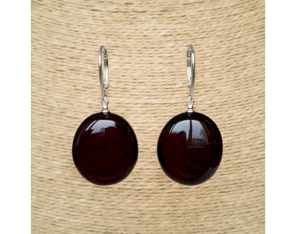 Natural amber round cherry earrings #01
