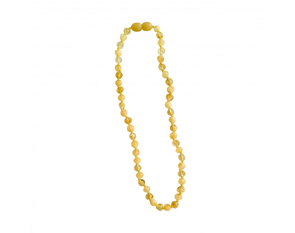 Natural amber teething baby necklace matt x lemon