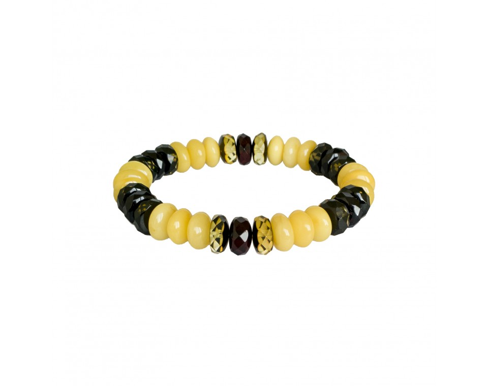 Natural amber white tablets and green faceted beads bracelet