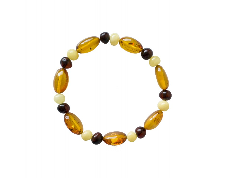 Natural Baltic amber cognac color beans  and multicolor baroque beads bracelet