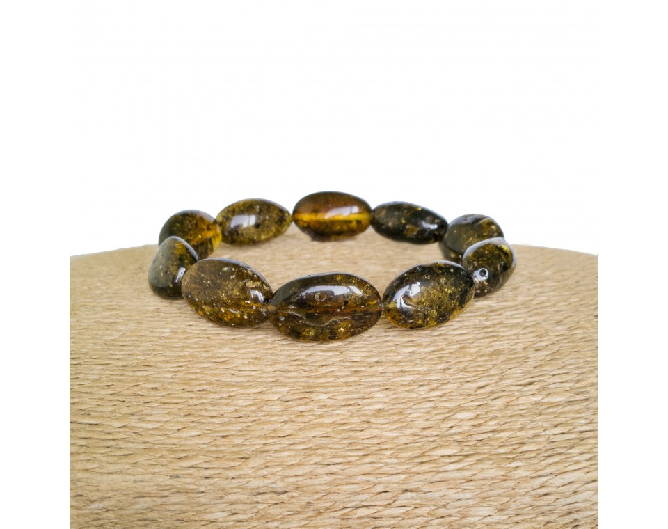Natural shape genuine amber dark green beans bracelet