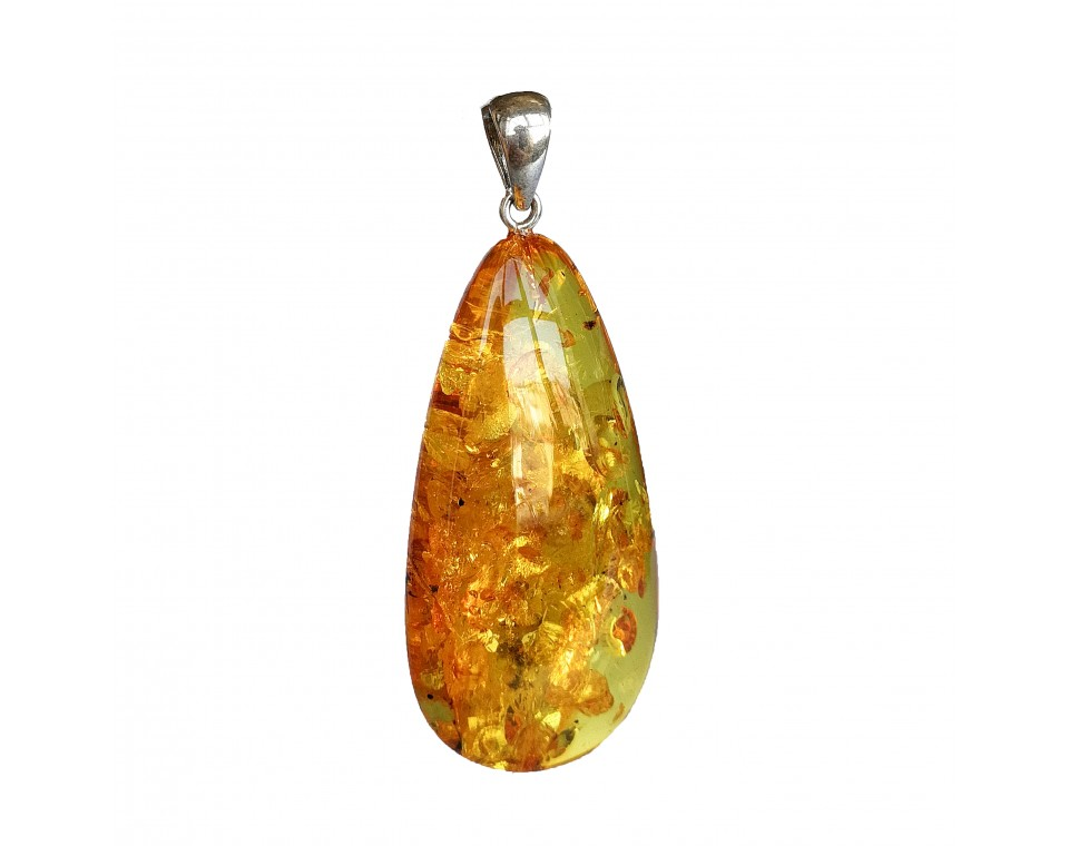 Natural amber cognac color drop pendant #07